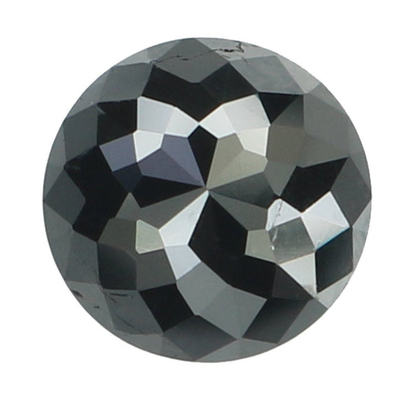 Natural Loose Diamond Round Rose Cut Black Color I3 Clarity 6.10 MM 0.94 Ct KR1634