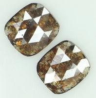 Natural Loose Diamond Cushion Pair Brown Color I3 Clarity 2 Pcs 1.12 Ct L6877