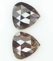 Natural Loose Diamond Heart Pair Brown Color I3 Clarity 2 Pcs 2.58 Ct L6880