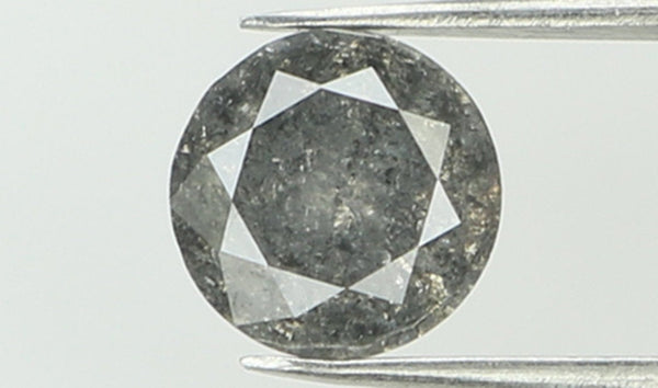 Natural Loose Diamond Round Black Grey Salt And Pepper Color I3 Clarity 4.80 MM 0.45 Ct KR1775