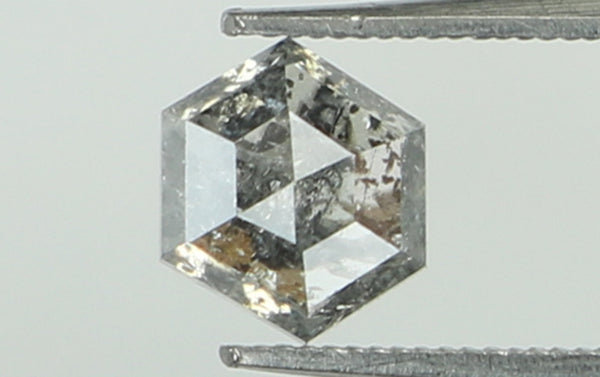0.47 Ct Natural Loose Diamond Hexagon Black Grey Salt And Pepper Color I3 Clarity 4.20 MM KR1785