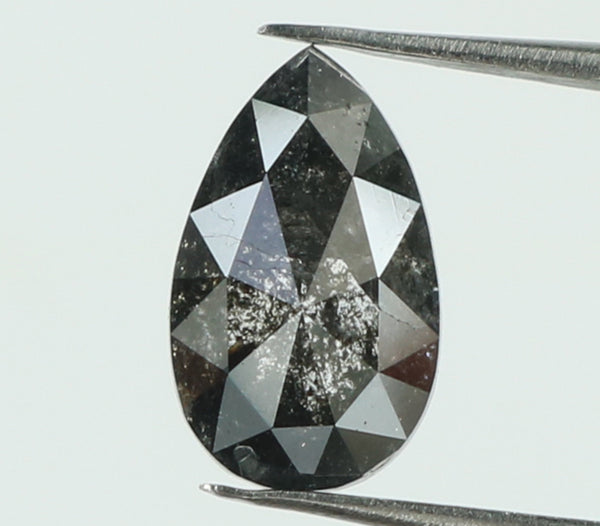 Natural Loose Diamond Pear Black Grey Salt And Pepper Color I3 Clarity 7.60 MM 0.89 Ct KDL7391