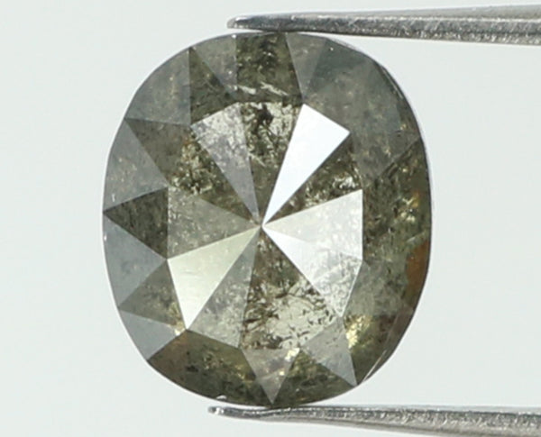 Natural Loose Diamond Oval Black Grey Salt And Pepper Color I3 Clarity 6.20 MM 0.99 Ct L7397