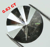 Natural Loose Diamond Round Black Grey Salt And Pepper Color I3 Clarity 5.10 MM 0.63 Ct L7419