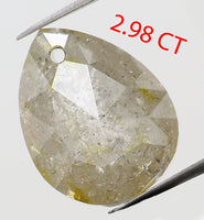 2.98 Ct Natural Loose Diamond Antique Pear Yellow Grey Color I2 Clarity 9.30 MM L7462