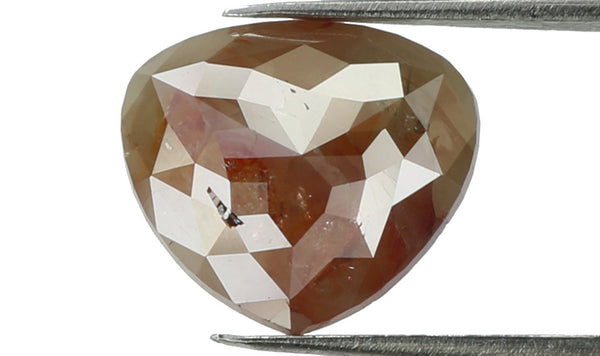 Natural Loose Diamond Heart Brown Grey Color I3 Clarity 7.04 MM 1.57 Ct L6050