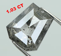Natural Loose Diamond Coffin Black Grey Salt And Pepper Color I3 Clarity 6.30 MM 1.03 Ct KDL7466