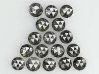 Natural Loose Diamond Round Rose Cut Black Grey Salt And Pepper Color I3 Clarity 17 Pcs 1.11 Ct L7471