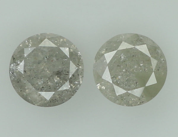 Natural Loose Diamond Round Ice Grey Color I3 Clarity 2 Pcs 0.49 Ct L7489