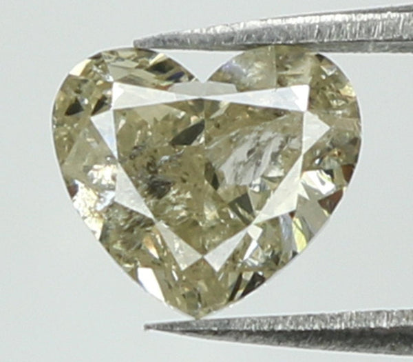 Natural Loose Diamond Heart Yellow Grey Color I1 Clarity 4.80 MM 0.50 Ct L7528