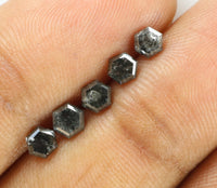 Natural Loose Diamond Hexagon Black Grey Salt And Pepper Color I3 Clarity 5 Pcs 1.30 Ct L7551