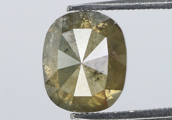 Natural Loose Diamond Cushion Grey Yellow Color I3 Clarity 6.80 MM 1.29 Ct KDL7333