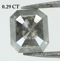 Natural Loose Diamond Emerald Black Grey Salt And Pepper Color I3 Clarity 3.70 MM 0.29 Ct KR1855