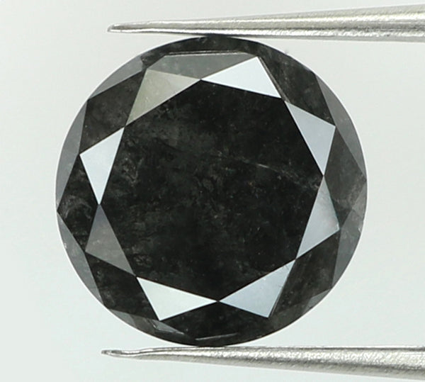 2.59 Ct Natural Loose Diamond Round Black Color I3 Clarity 8.30 MM L7395