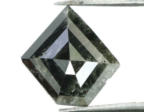 Natural Loose Diamond Shield Black Grey Salt And Pepper Color I3 Clarity 9.20 MM 1.59 Ct KR1267