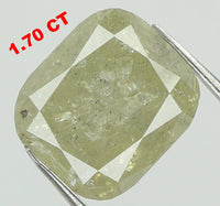 Natural Loose Diamond Cushion Yellow Grey Color I2 Clarity 7.10 MM 1.70 Ct L7412