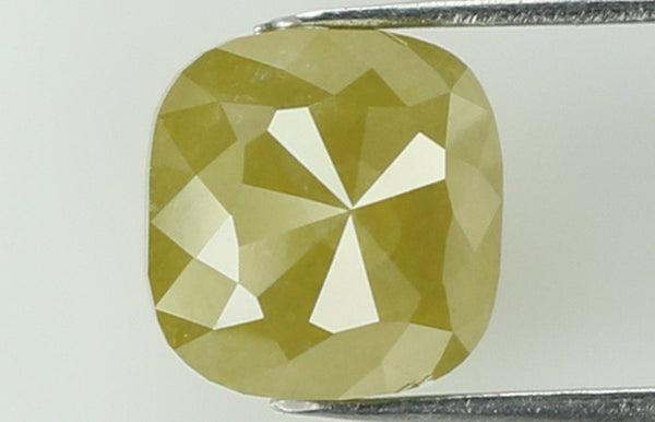 Natural Loose Diamond Cushion Yellow Greenish Color I3 Clarity 5.00 MM 0.84 Ct KR988