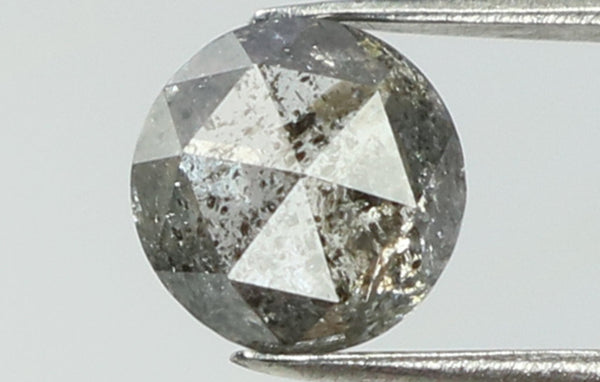 Natural Loose Diamond Round Rose Cut Black Grey Salt And Pepper Color I3 Clarity 4.60 MM 0.46 Ct L7470