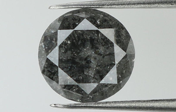 Natural Loose Diamond Round Black Grey Salt And Pepper Color I3 Clarity 5.40 MM 0.82 Ct KR1827