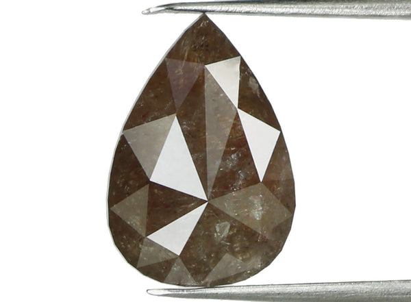 Natural Loose Diamond Pear Brown Grey Color I3 Clarity 9.10 MM 1.26 Ct L5352