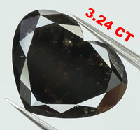3.24 Ct Natural Loose Diamond Heart Brown Black Color 11.10 MM L7534