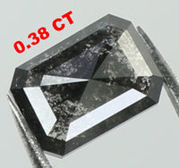 Natural Loose Diamond Emerald Black Salt And Pepper Color I3 Clarity 4.60 MM 0.38 Ct KR180