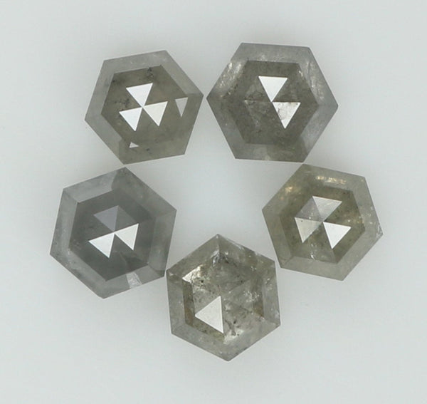 Natural Loose Diamond Hexagon Grey Color I3 Clarity 5 Pcs 1.01 Ct KR1837