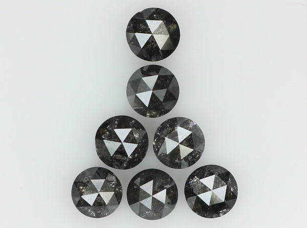 Natural Loose Diamond Round Rose Cut Black Grey Salt And Pepper Color I3 Clarity 7 Pcs 1.12 Ct L7737