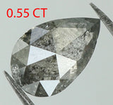 Natural Loose Diamond Pear Black Grey Salt And Pepper Color I3 Clarity 7.00 MM 0.55 Ct L7605