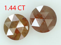Natural Loose Diamond Round Rose Cut Grey Brown Color I3 Clarity 2 pcs 1.44 Ct L7792