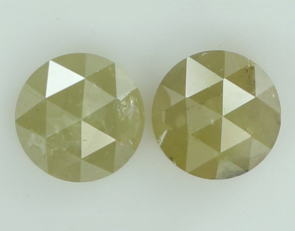 Natural Loose Diamond Round Rose Cut Yellow Grey Color I3 Clarity 2 pcs 1.16 Ct L7803