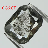 0.86 Ct Natural Loose Diamond Cushion Black Grey Salt And Pepper Color 5.93 MM L7859