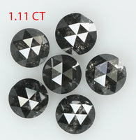 Natural Loose Diamond Round Rose Cut Black Salt And Pepper Color I3 Clarity 6 Pcs 1.11 Ct L7746