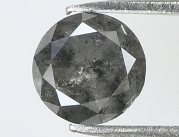 0.58 Ct Natural Loose Diamond Round Black Grey Salt And Pepper Color I3 Clarity 5.00 MM L7918