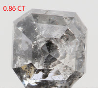 Natural Loose Diamond Emerald Black Grey Salt And Pepper Color I3 Clarity 5.10 MM 0.86 Ct L7777