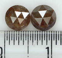 Natural Loose Diamond Round Rose Cut Grey Brown Color I3 Clarity 2 pcs 1.51 Ct L7794