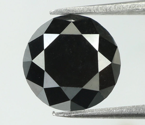 2.34 Ct Natural Loose Diamond Round Black Color I3 Clarity 7.90 MM L7834