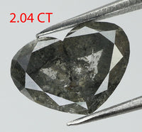 2.04 Ct Natural Loose Diamond Heart Black Grey Salt And Pepper Color I3 Clarity 9.50 MM L7839
