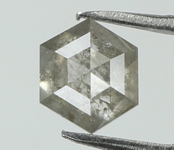 0.57 Ct Natural Loose Diamond Hexagon Grey Color I3 Clarity 4.70 MM L7965