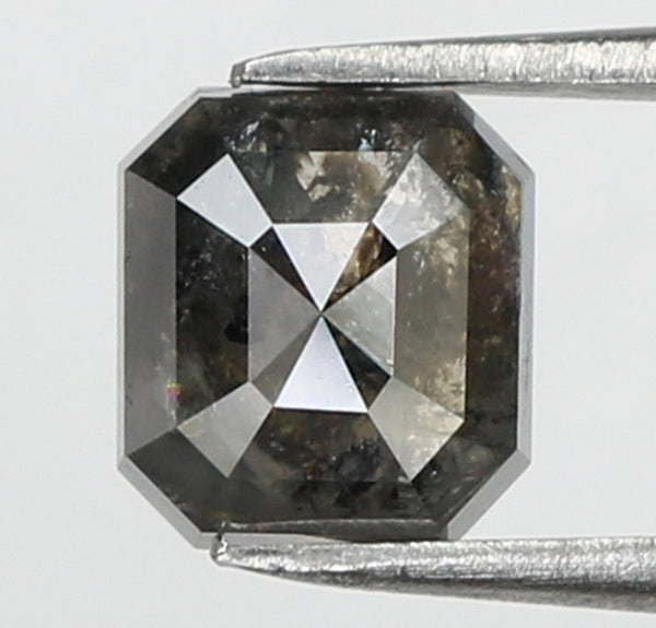 1.04 Ct Natural Loose Diamond Emerald Black Grey Salt And Pepper Color I3 Clarity 5.85 MM KR1942