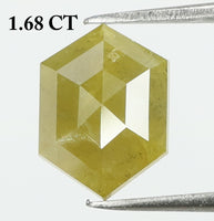 1.68 Ct Natural Loose Diamond Hexagon Yellow Color I3 Clarity 9.10 MM KR1936