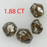 1.88 Ct Natural Loose Diamond Rough Dark Brown Color I3 Clarity 4 Pcs L7966
