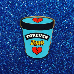 "Forever Alone 1.25"" Ice Cream Pint Enamel Pin"