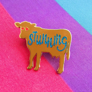 "Brown Cow Stunning Glitter 1.5"" Enamel Pin"