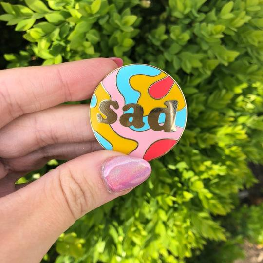 Sad Enamel Pin