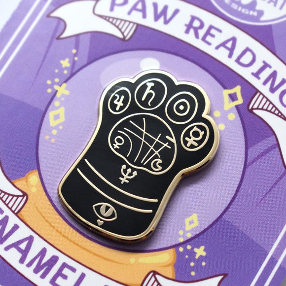 Black Reading Paw Enamel Pin