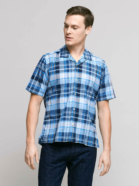 Short Sleeve Madras Shirt, Blue