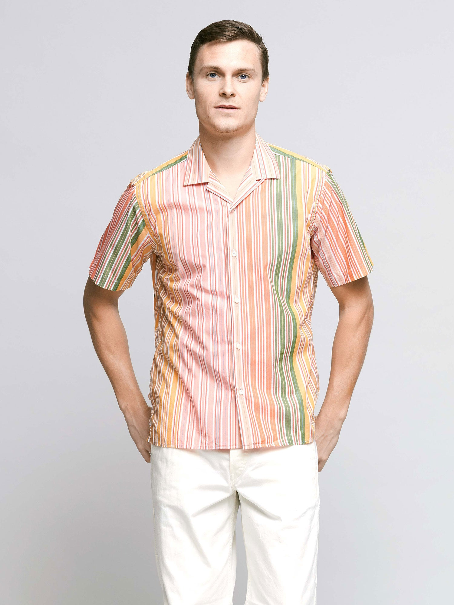Short Sleeve Shirt, Orange Multi Stripe