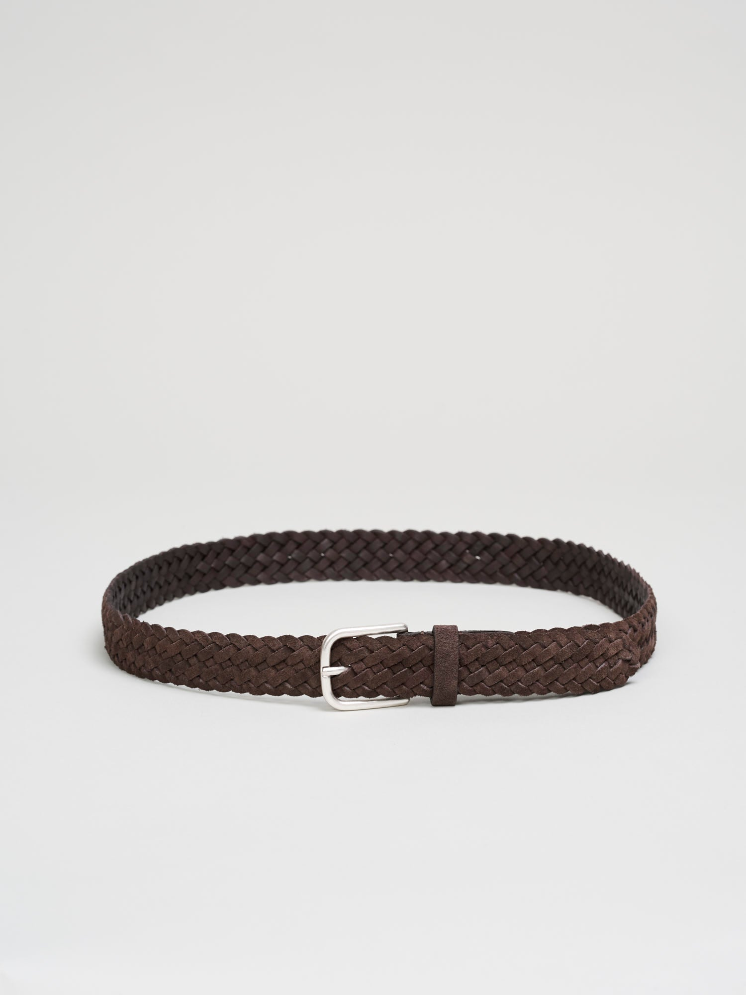 Braided Suede Belt, Dark Brown - Goods