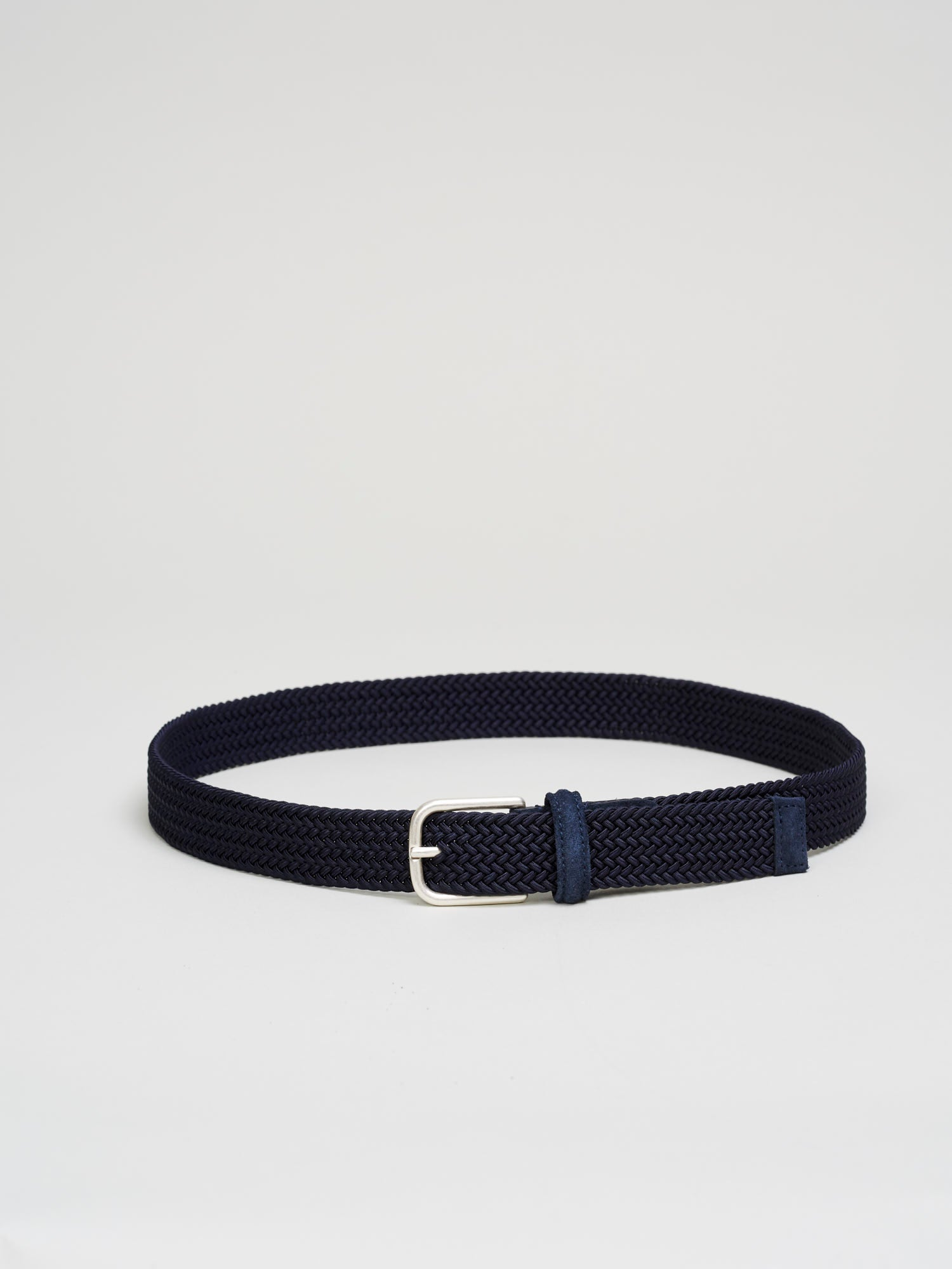 Braided Stretch Nylon Belt, Navy - Goods